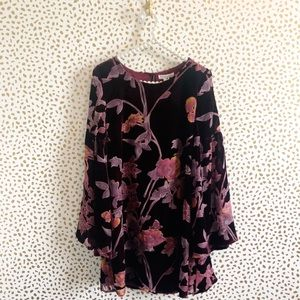 New LoveRiche Floral Velvet Bell Sleeve Dress